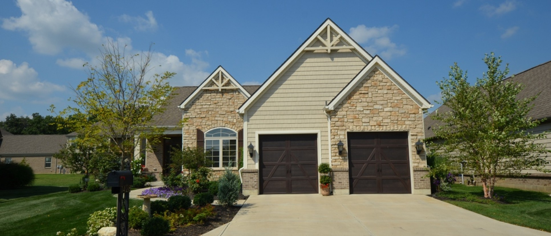 Custom exterior by Design Homes. Located in Soraya Farms.