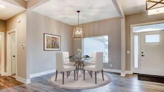 The Dining Room of the Oakwood in Soraya Farms by Design Homes