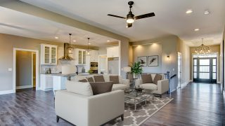 The Great Room of the Brooklyn in Bridle Creek Ranch by Design Homes