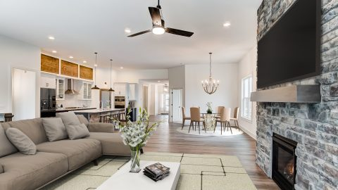 The Great Room of the Magnolia in Soraya Farms by Design Homes