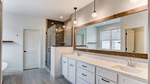 The Master Bath of the Magnolia in Soraya Farms by Design Homes