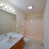 Upstairs bathroom in Fairway Crossing rental, by Design Homes.