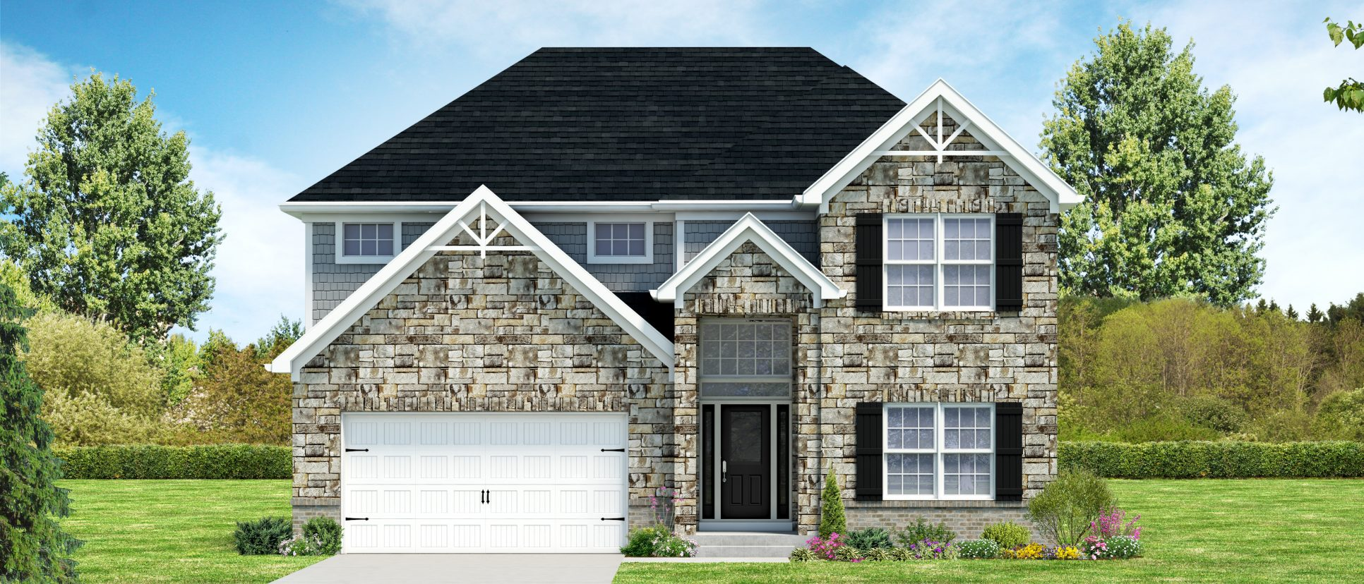Custom exterior rendering of the Venice. A standard plan by Design Homes and Development.