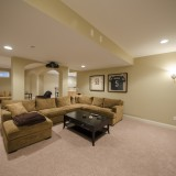 Custom media room by Design Homes.