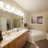 Custom master bathroom by Design Homes.