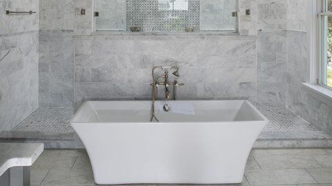 Custom bathroom built by Axon Homes and Design Homes and Development.