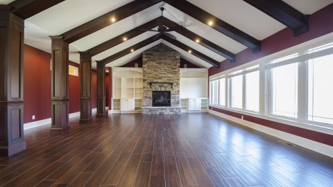 Custom great room in Bridle Creek Ranch. Built by Design Homes.
