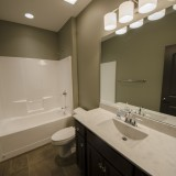 Custom bathroom by Design Homes.