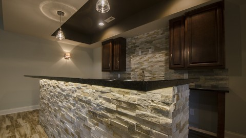 Custom basement built by Design Homes and Development.