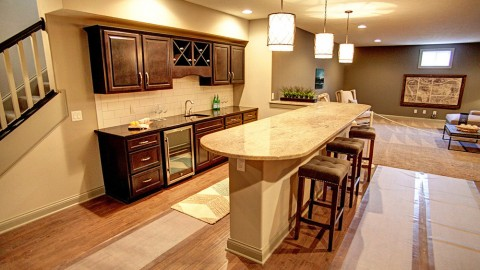 Custom basement built by Design Homes and Development.