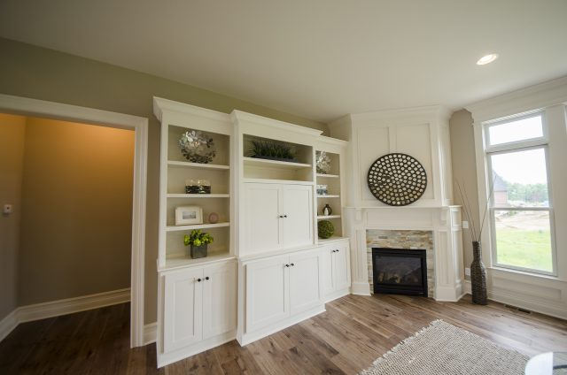 Custom great room in the Leah by Design Homes and Development. Decorating blog post.