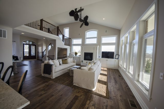 Custom great room in the Mitchell by Design Homes and Development. Decorating blog post.