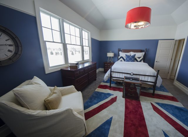 Custom bedroom in The Blake by Design Homes and Development. Decorating blog post.