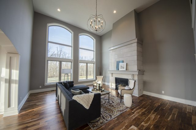 Custom great room in the Reese by Design Homes and Development. Decorating blog post.