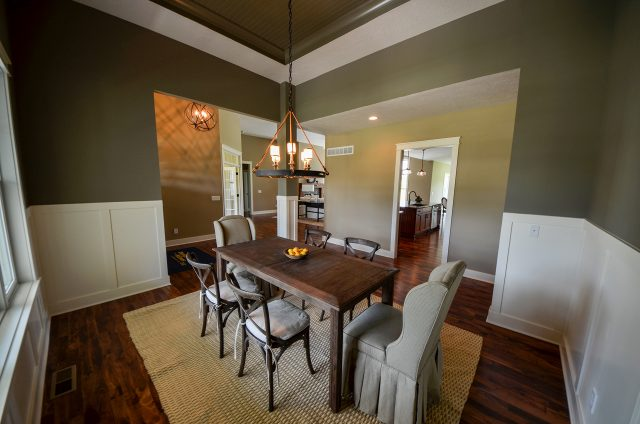 Custom dining room in The Aaron by Design Homes and Development. Decorating blog post.