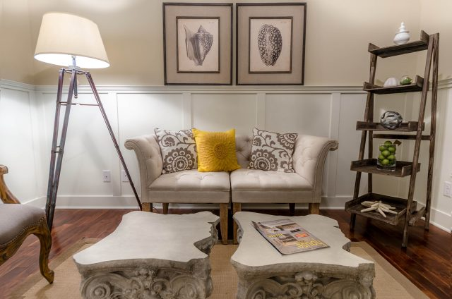 Custom great room in the Gabriel by Design Homes and Development. Decorating blog post.