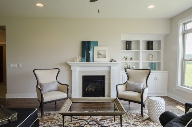Custom great room in the Ella by Design Homes and Development. Decorating blog post.