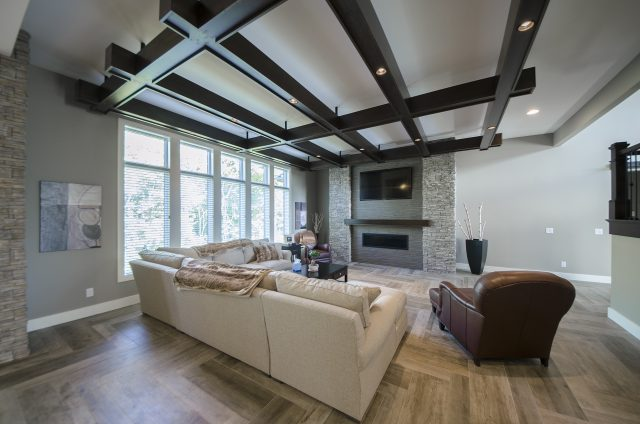 Custom great room by Design Homes and Development. Decorating blog post.