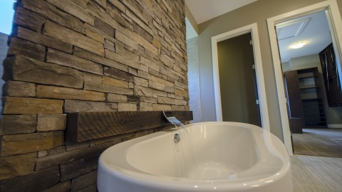 Custom bathroom by Design Homes in the Winding Creek community.
