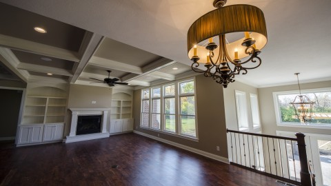 Custom great room by Design Homes, home builder.