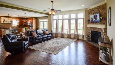 Custom great room in Saddle Creek, by Design Homes.