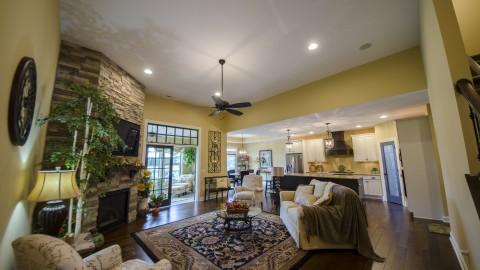Custom great room in Soraya Farms, by Design Homes.