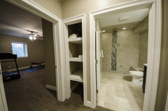 Custom basement in Yearling Farms. Built by Design Homes and Development.