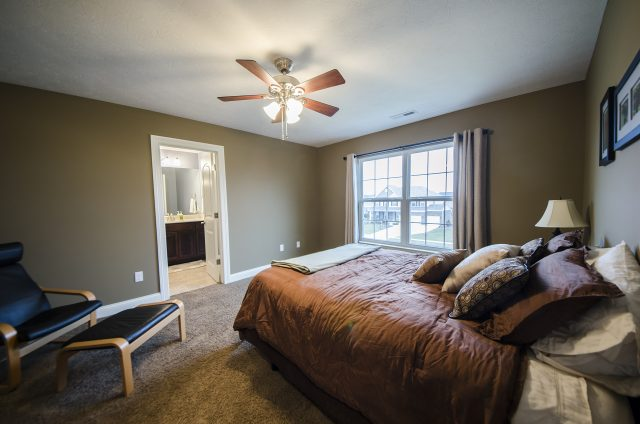 Custom bedroom in Yearling Farms. Built by Design Homes and Development.