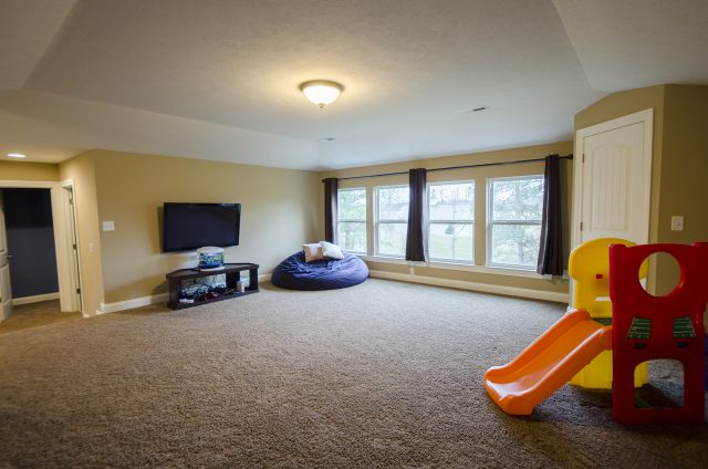 Custom game room in Yearling Farms. Built by Design Homes and Development.