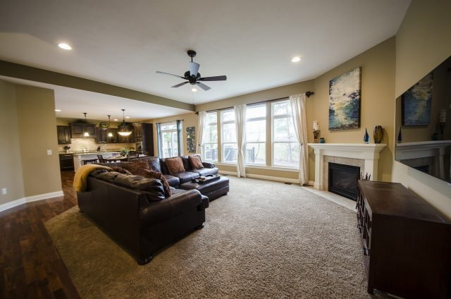 Custom great room in Yearling Farms. Built by Design Homes and Development.