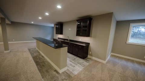 Custom basement by Design Homes and Development.