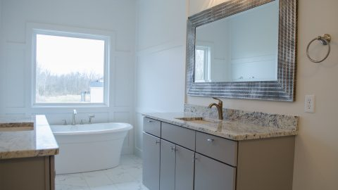 Custom master bathroom located in Bridle Creek Ranch. Built by Design Homes & Development.
