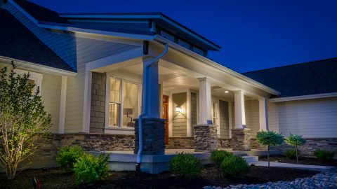 Custom exterior of The Aaron. A custom, move-in ready home by Design Homes and Development.