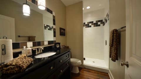 Custom master bathroom in The Sierra, by Design Homes & Development.