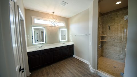 Custom bathroom in the Beach residence in Soraya Farms. Built by Design Homes & Development.