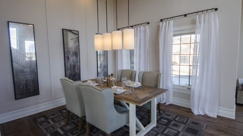 Custom dining room in The Mitchell. Built by Design Homes & Development.