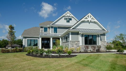 Custom exterior of built by Design Homes and Development.