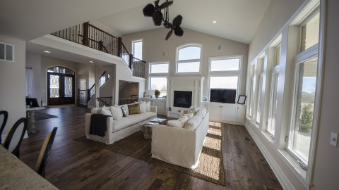Custom great room in The Mitchell. Built by Design Homes and Development.