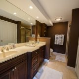 Hancock master bathroom. Listed by Design Homes & Development. Custom home builder.