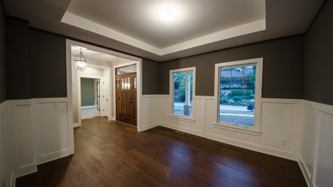 Custom dining room in Kings Grant. Built by Design Homes & Development.