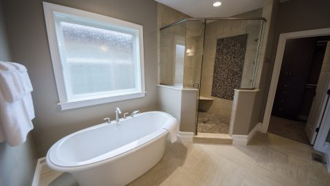 Custom master bathroom in Soraya Farms. Built by Design Homes and Development.