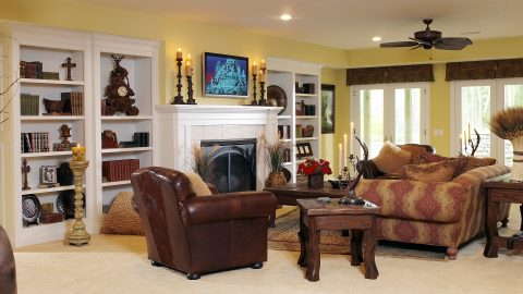 Custom media room in stunning Cypress Ridge model home. A custom build by Design Homes and Development.