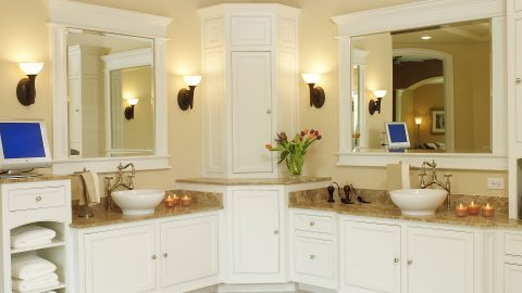 Custom master bathroom in stunning Cypress Ridge model home. A custom build by Design Homes and Development.