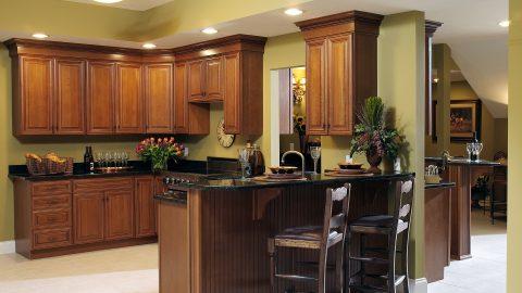 Custom wet bar in stunning Cypress Ridge model home. A custom build by Design Homes and Development.