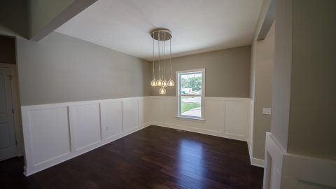 Custom dining room in the Austin. Built by Design Homes & Development.