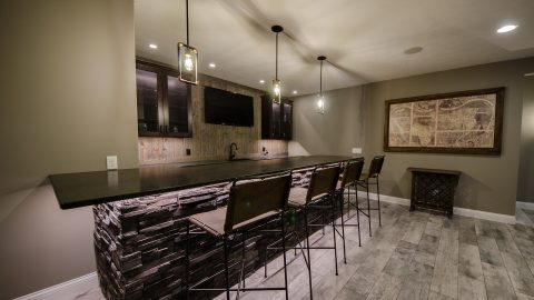 Custom basement in Soraya Farms by Design Homes and Development.