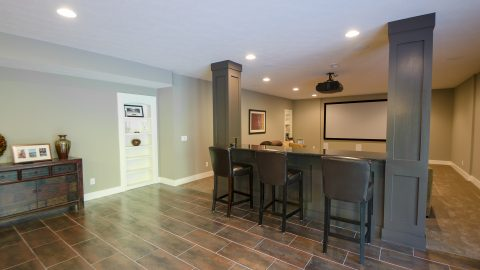 Custom bar area in Villages of Winding Creek. Built by Design Homes and Development.