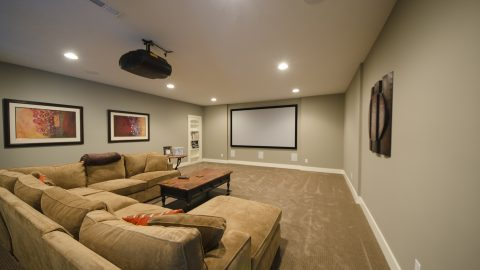 Custom basement in Villages of Winding Creek. Built by Design Homes and Development.