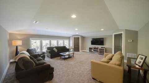 Custom gameroom in Villages of Winding Creek. Built by Design Homes and Development.
