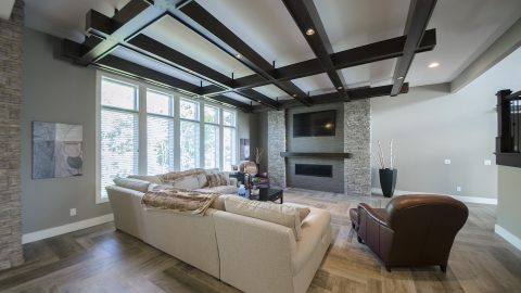 Custom great room in Villages of Winding Creek. Built by Design Homes and Development.